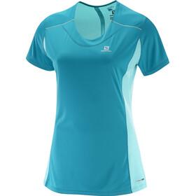 Salomon Agile Hardloopshirt korte mouwen Dames blauw/turquoise